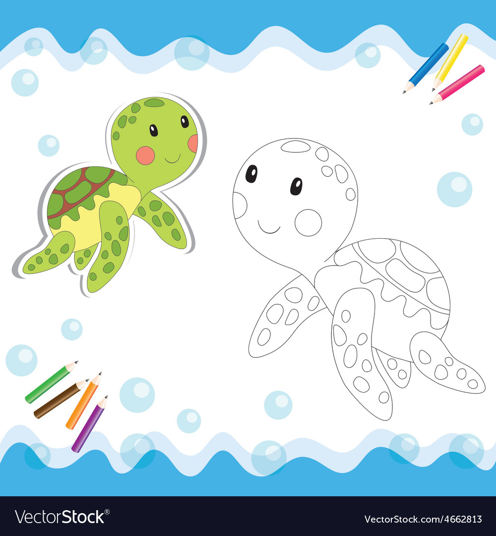 Coloring book turtle vector