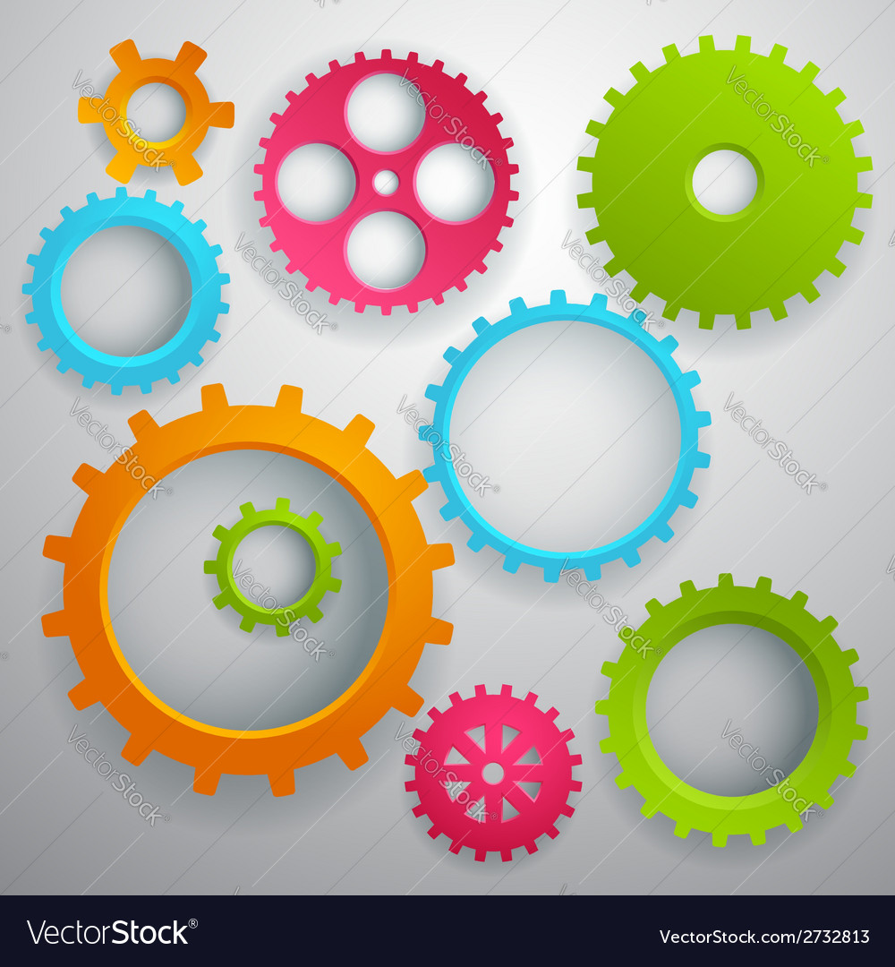 Connected realistic dimensional gear cogs silhouet vector | Price: 1 Credit (USD $1)