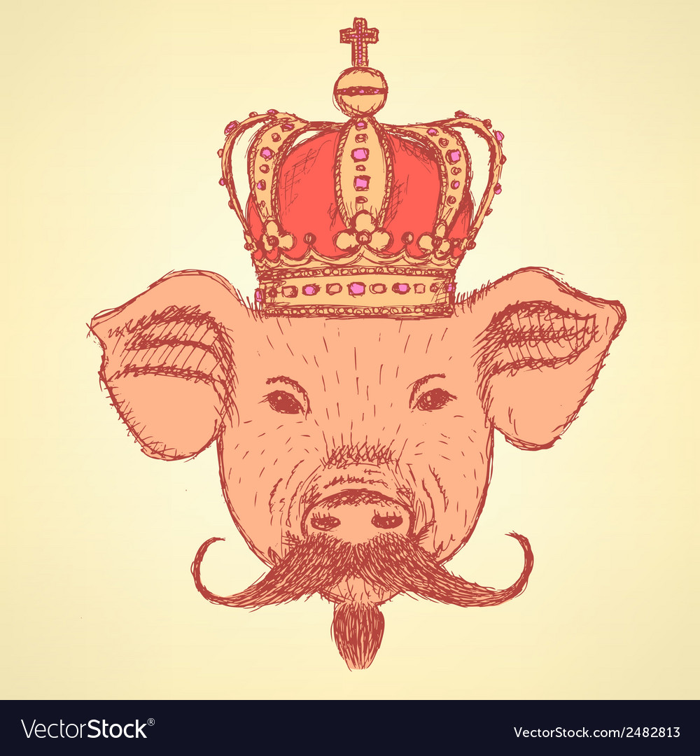 Crown pig mustache vector