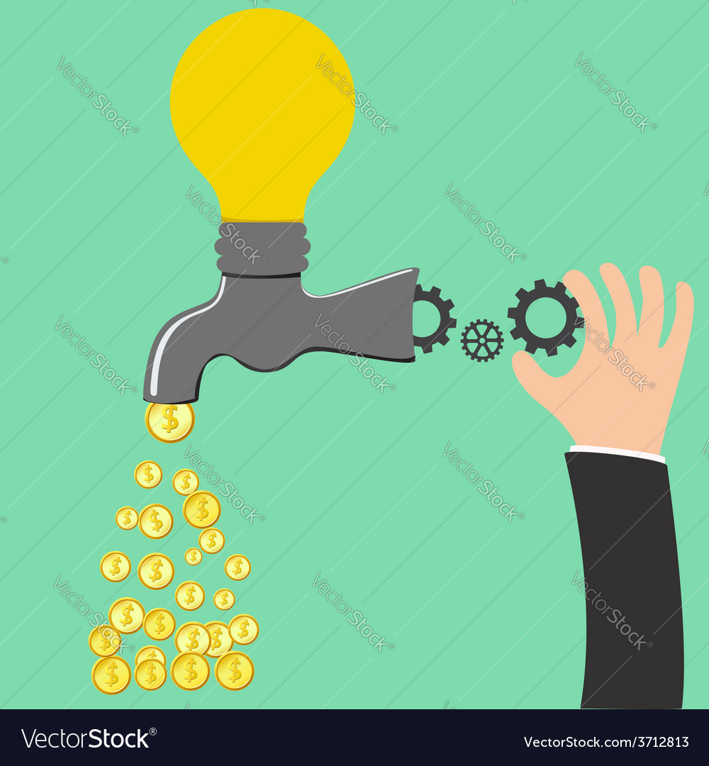 Faucet idea process to be money vector | Price: 1 Credit (USD $1)