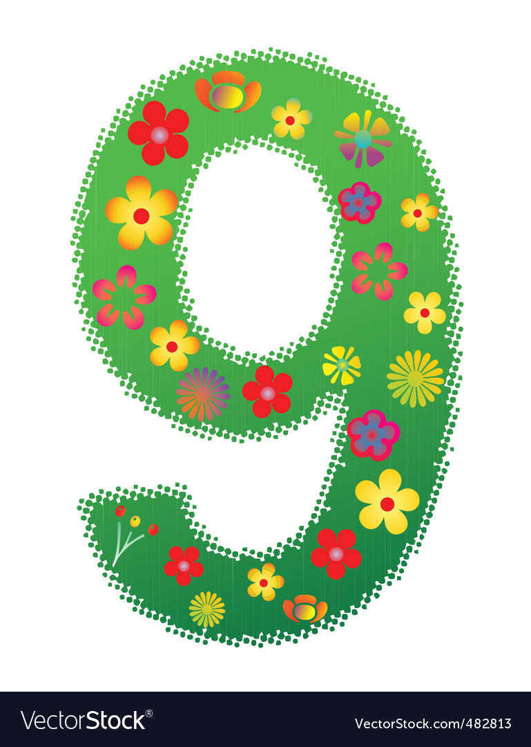 Floral number 9 vector | Price: 1 Credit (USD $1)