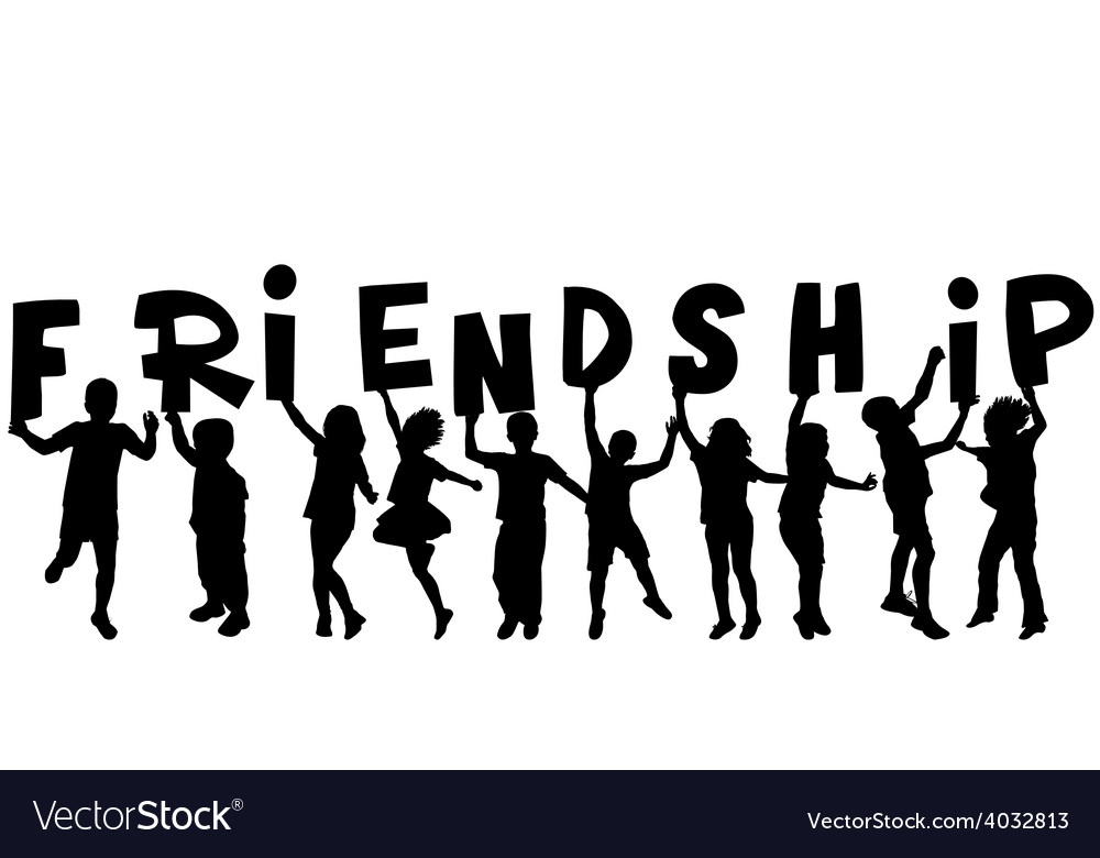 Friendship concept with black sillhouettes of vector | Price: 1 Credit (USD $1)