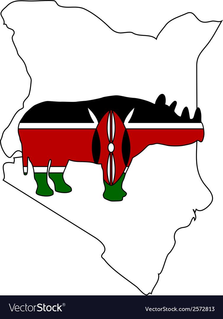 Kenya black rhino vector | Price: 1 Credit (USD $1)