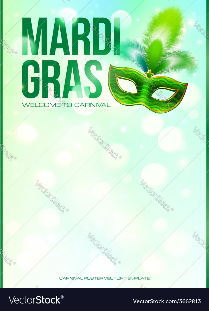 Light green mardi gras poster template with bokeh vector | Price: 1 Credit (USD $1)