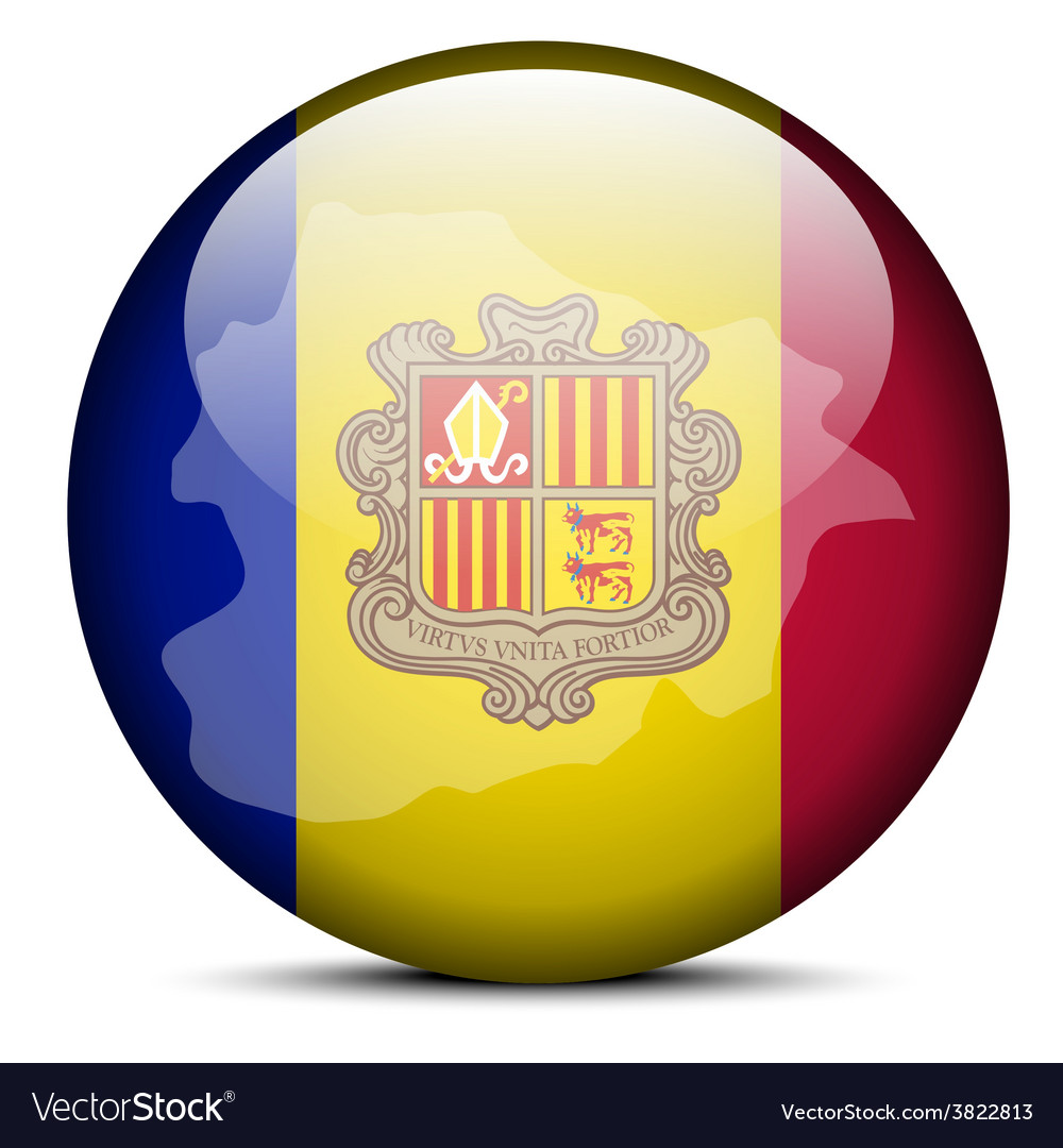 Map on flag button of principality of andorra vector | Price: 1 Credit (USD $1)