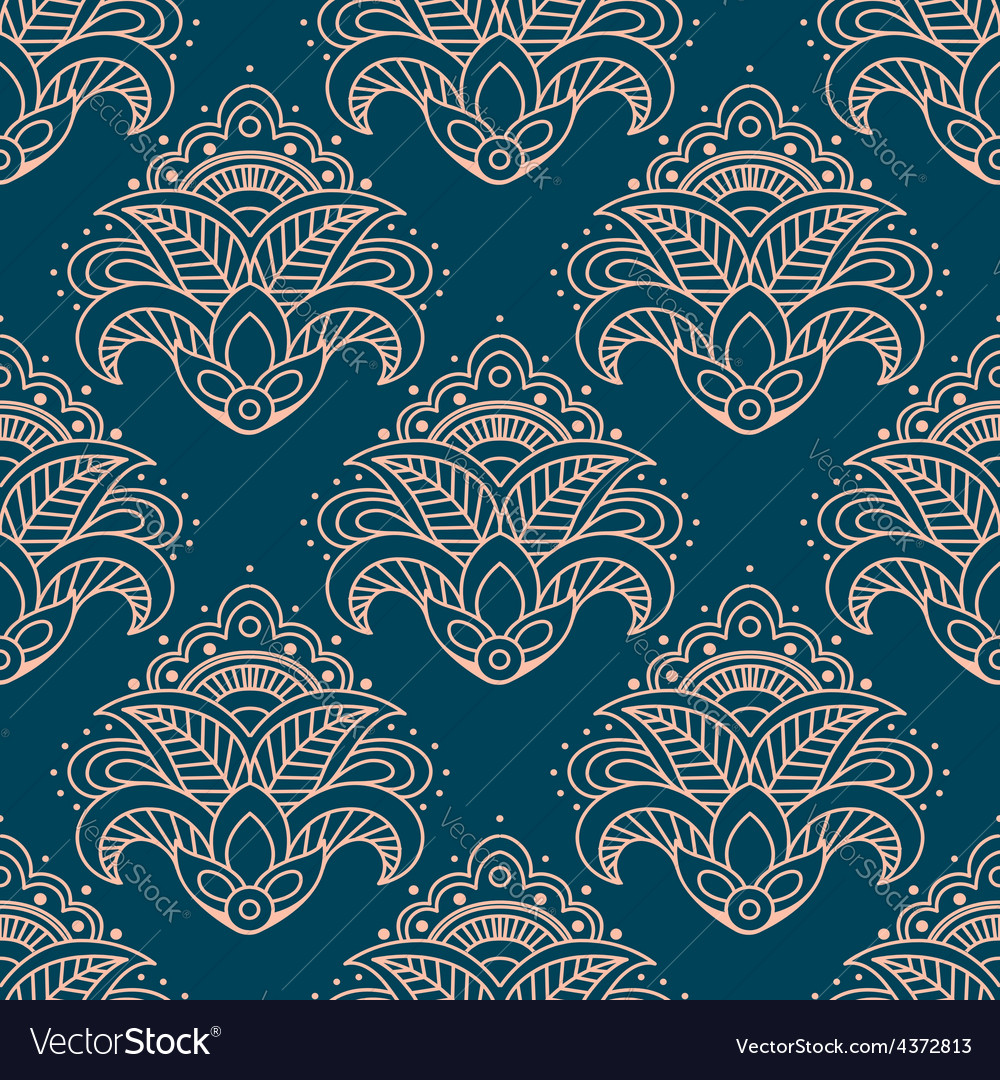 Paisley bell shaped flowers seamless pattern vector | Price: 1 Credit (USD $1)