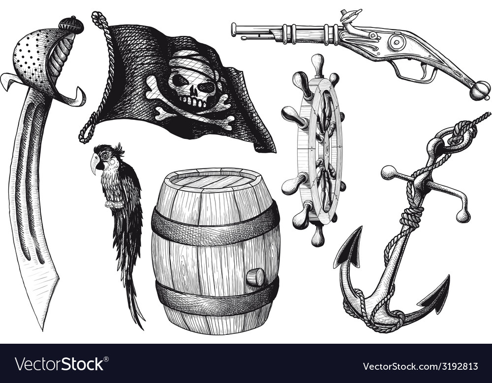 Pirate set attributes vector | Price: 1 Credit (USD $1)