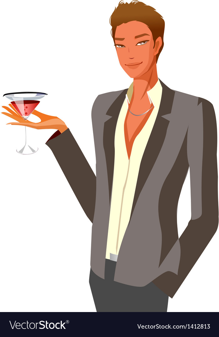 Portrait of man holding wineglass vector | Price: 3 Credit (USD $3)