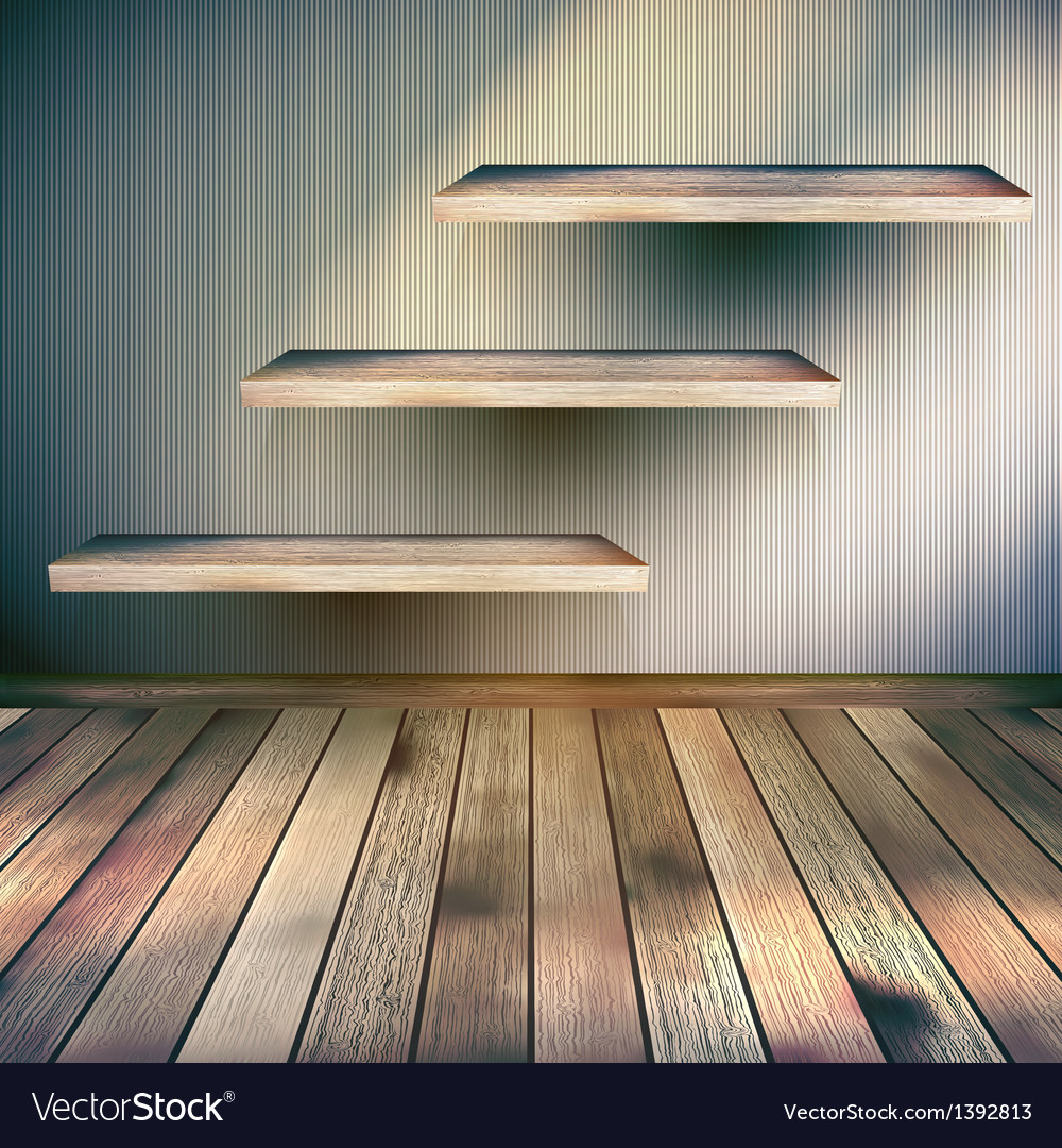 Wooden interior with shelf background eps 10 vector | Price: 1 Credit (USD $1)