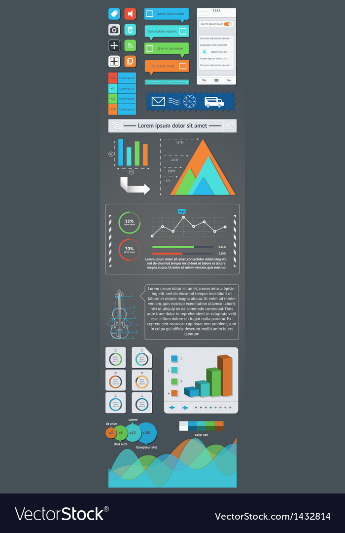 A set of user interface components and infographic vector | Price: 1 Credit (USD $1)