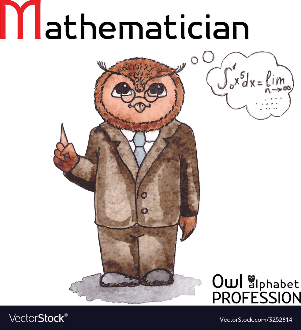 Alphabet professions owl letter m - mathematician vector | Price: 1 Credit (USD $1)