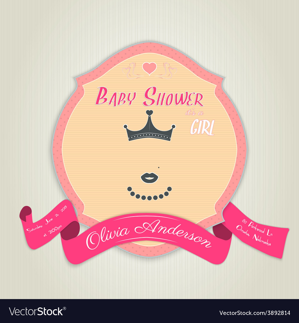 Baby shower invitation with princess with a crown vector | Price: 1 Credit (USD $1)