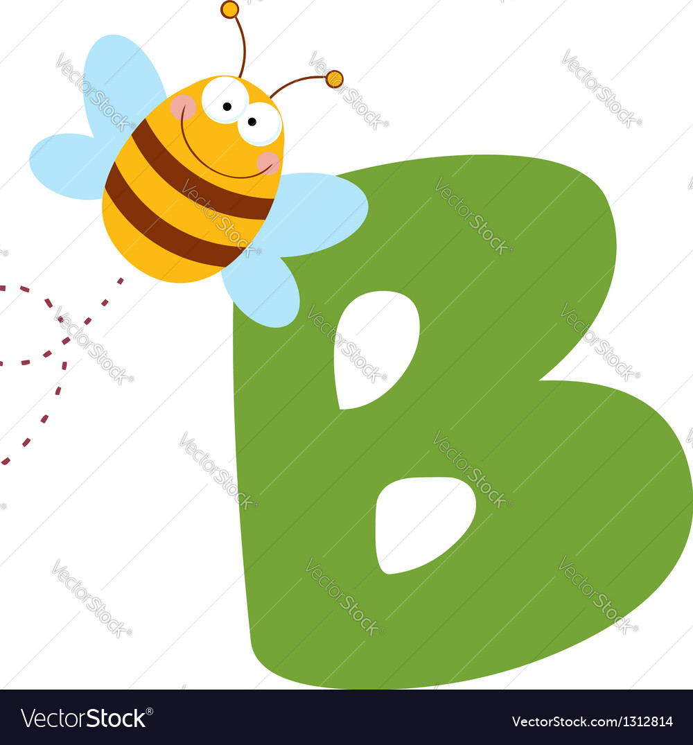 Bee with letters b vector | Price: 1 Credit (USD $1)