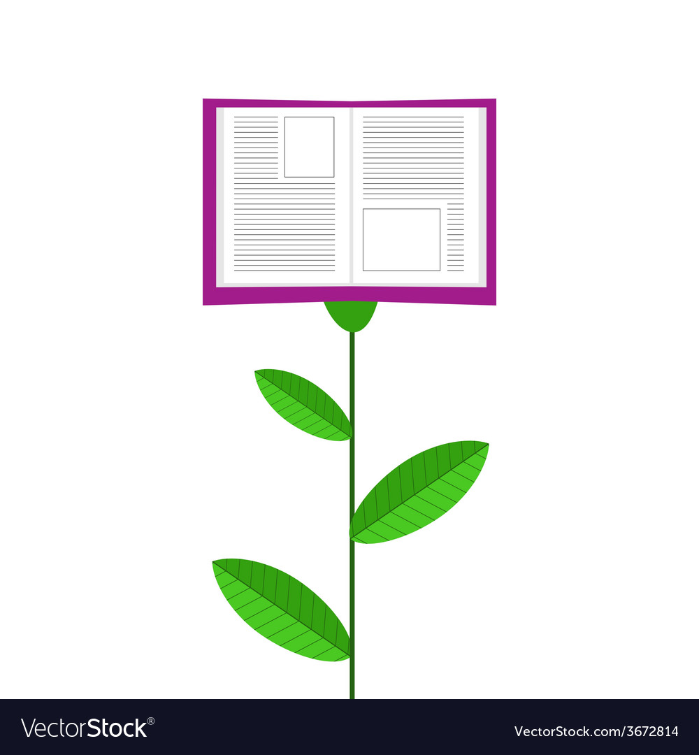 Book grows like flower isolated on white ba vector | Price: 1 Credit (USD $1)