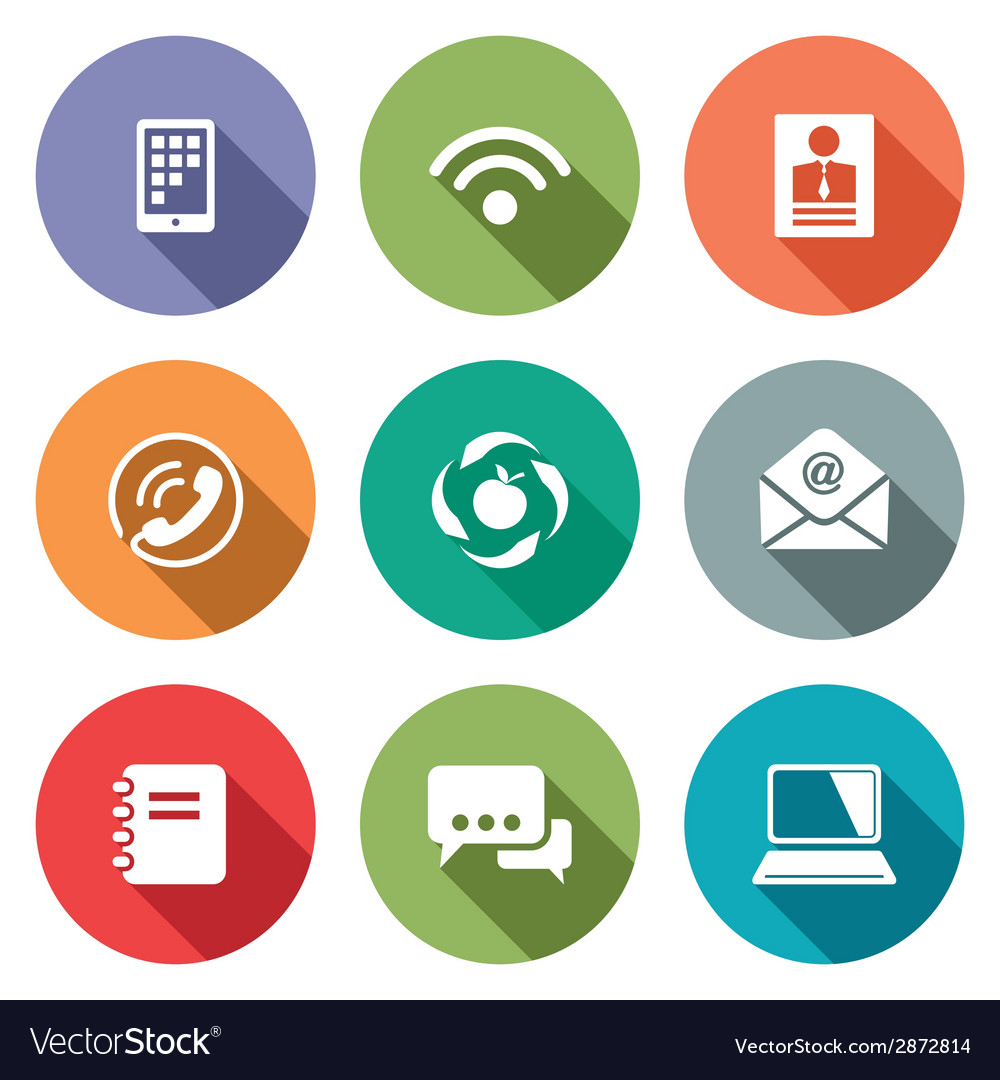 Communication flat icons set vector | Price: 1 Credit (USD $1)