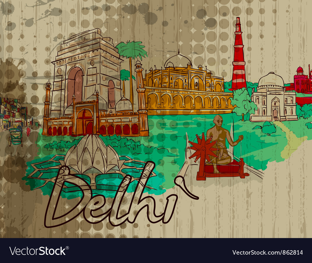 Delhi doodles vector | Price: 1 Credit (USD $1)