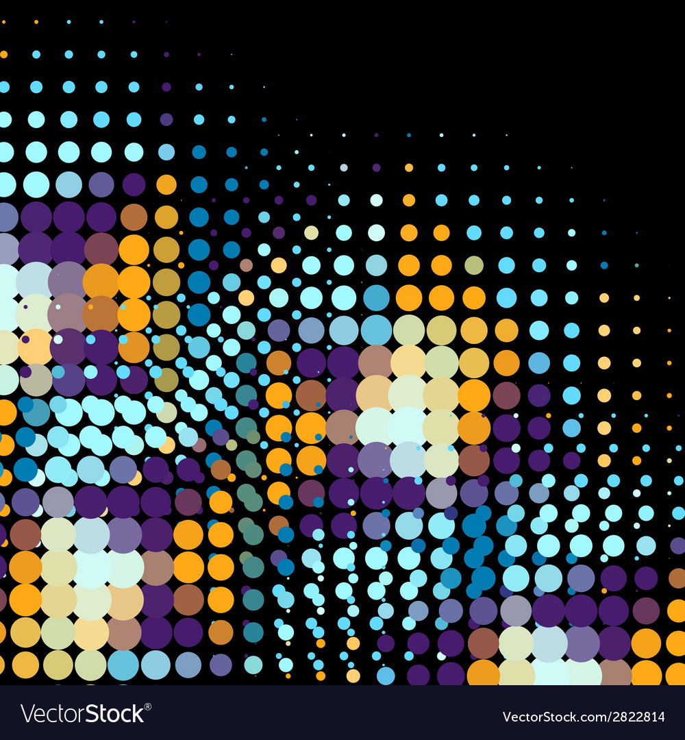 Disco background with halftone dots in retro style vector | Price: 1 Credit (USD $1)