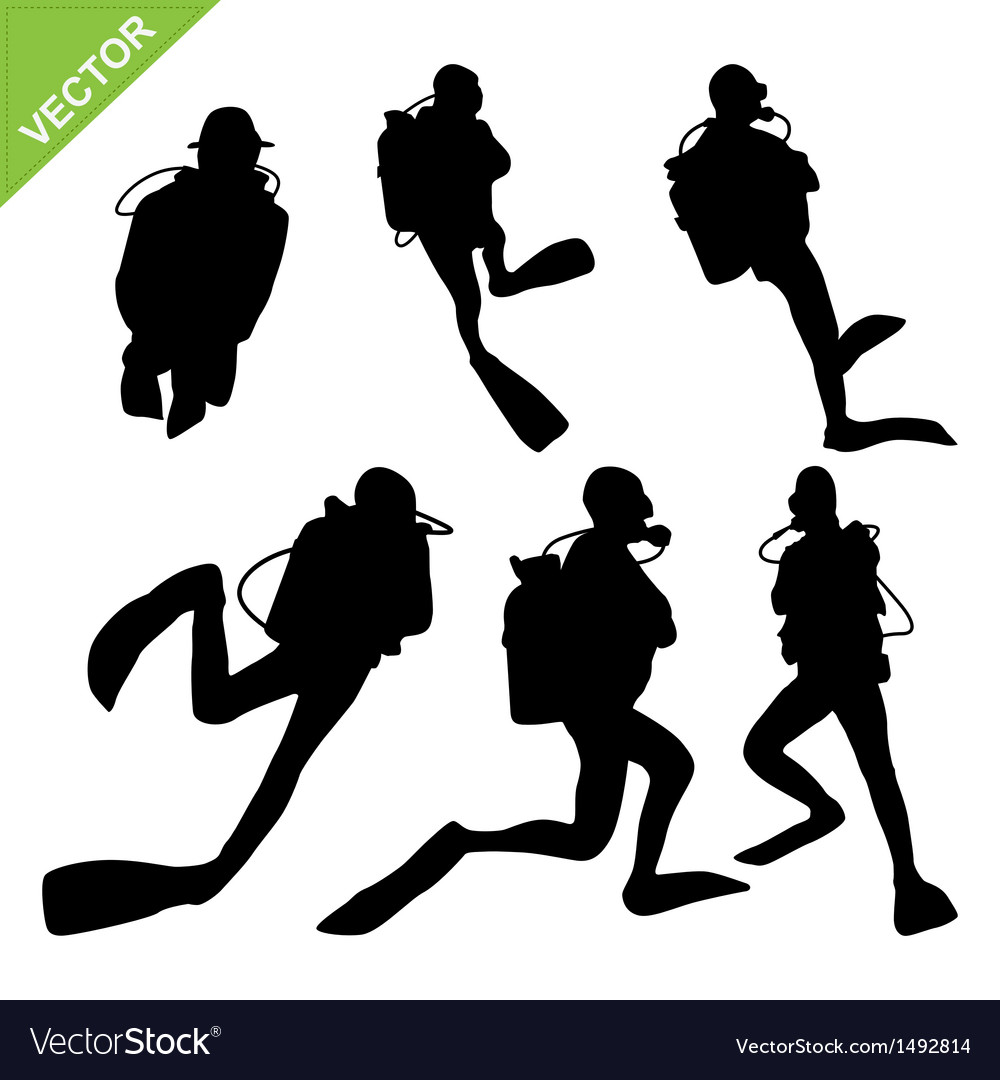 Diver silhouette vector | Price: 1 Credit (USD $1)