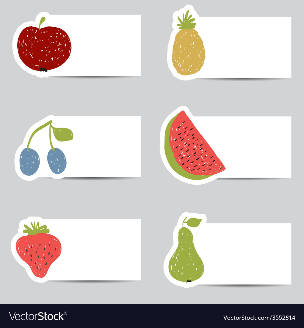 Doodle fruits cards in retro colors vector | Price: 1 Credit (USD $1)