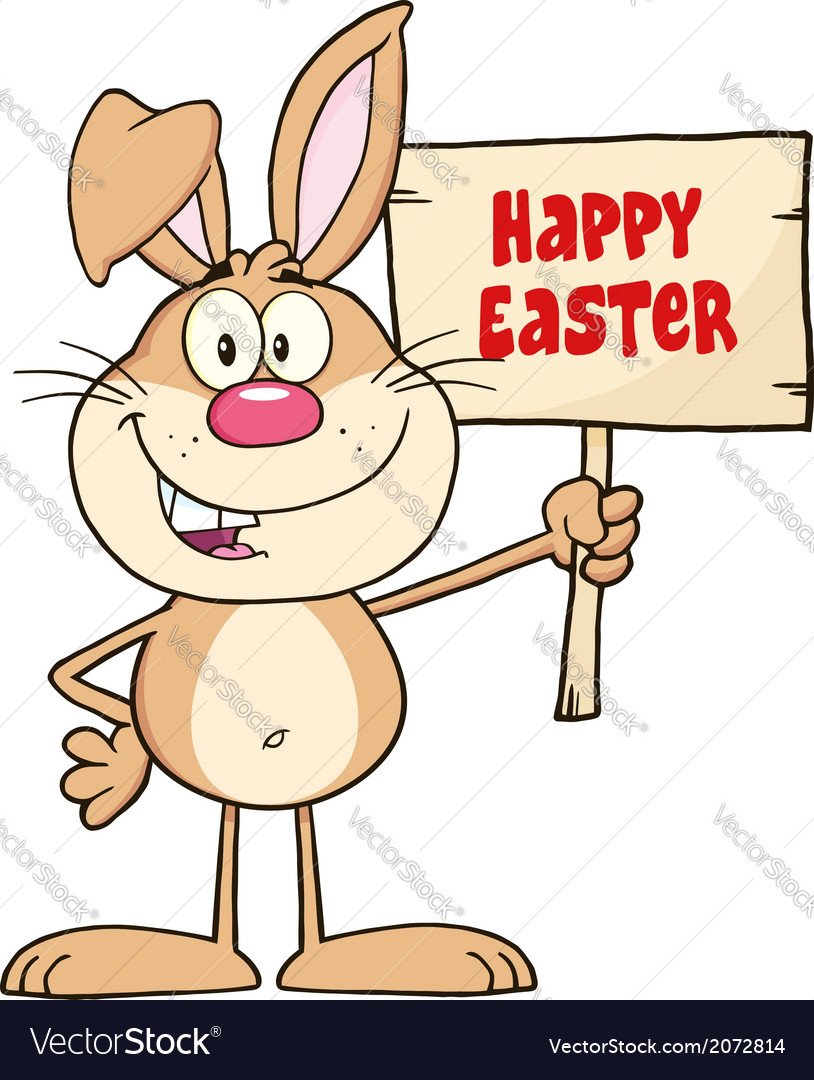 Easter bunny with sign vector   Price: 1 Credit (USD $1)