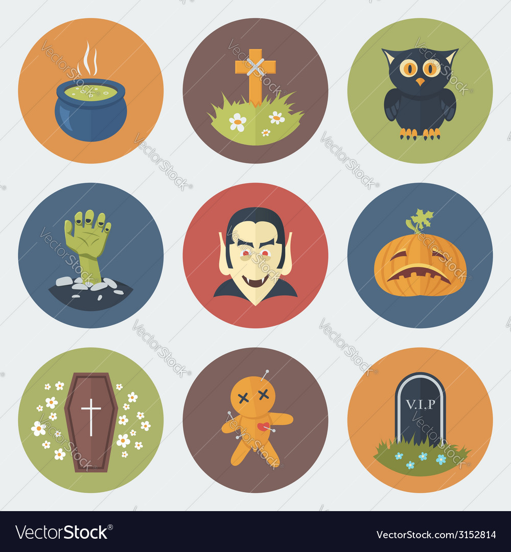 Halloween icons set vector | Price: 1 Credit (USD $1)