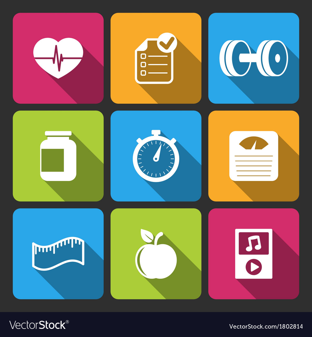 Healthy lifestyle iconset for fitness app vector | Price: 1 Credit (USD $1)