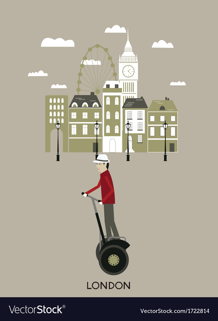Man riding a segway london vector | Price: 1 Credit (USD $1)