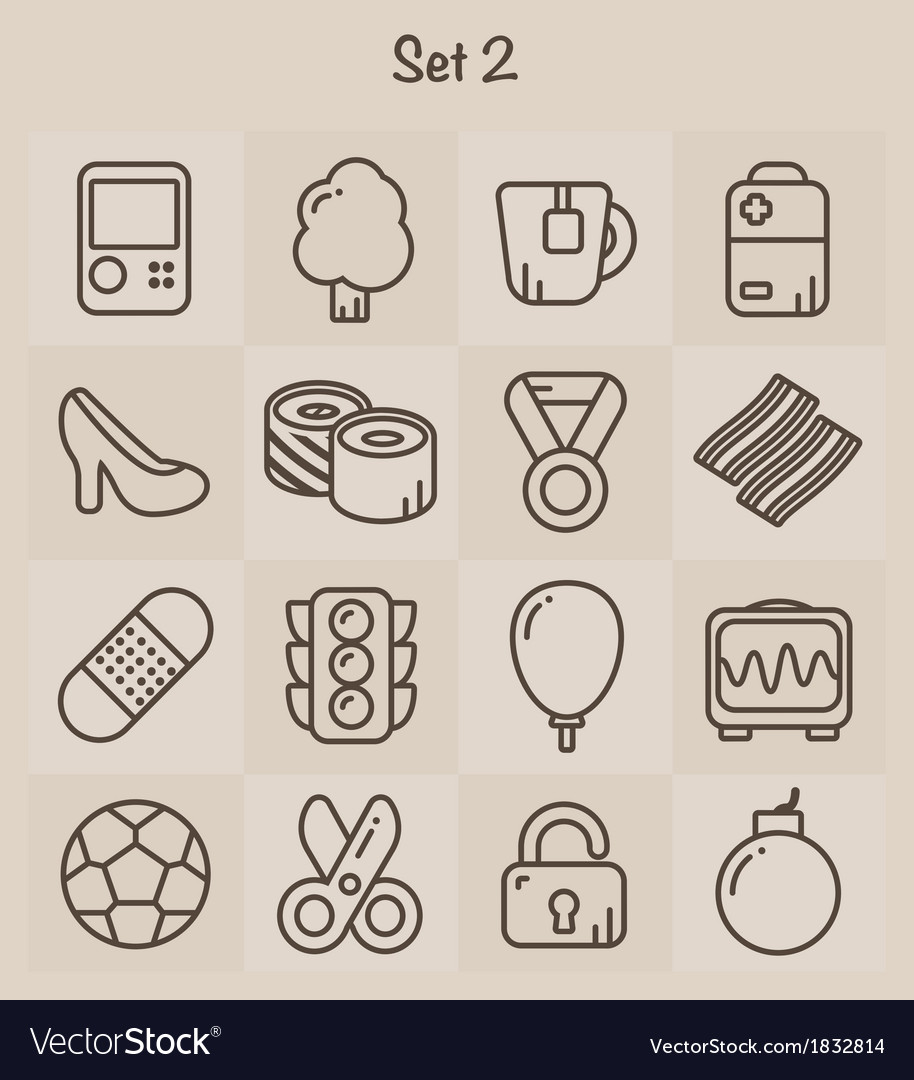 Outline icons set 2 vector | Price: 1 Credit (USD $1)