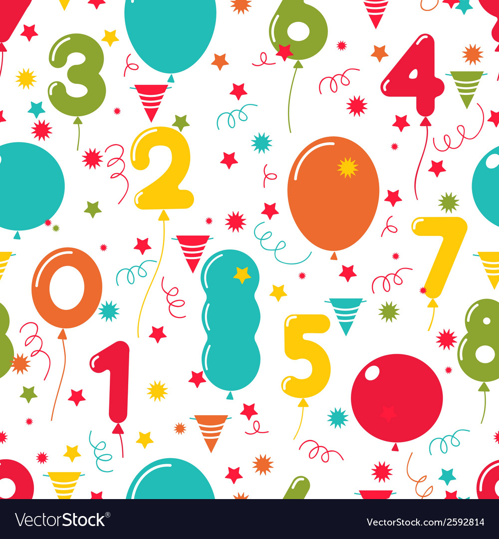 Seamless pattern of birthday party balloons vector | Price: 1 Credit (USD $1)