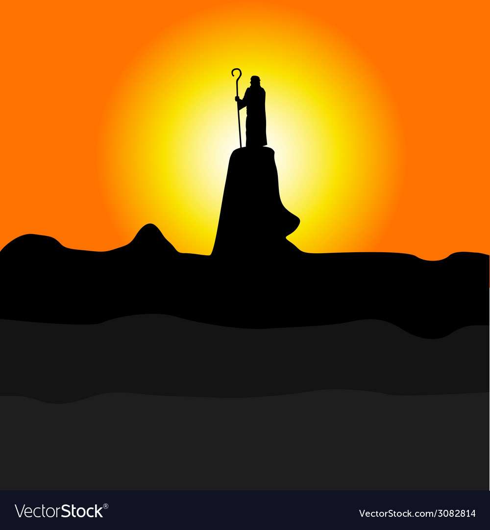 Shepherd on the cliff color silhouette vector | Price: 1 Credit (USD $1)