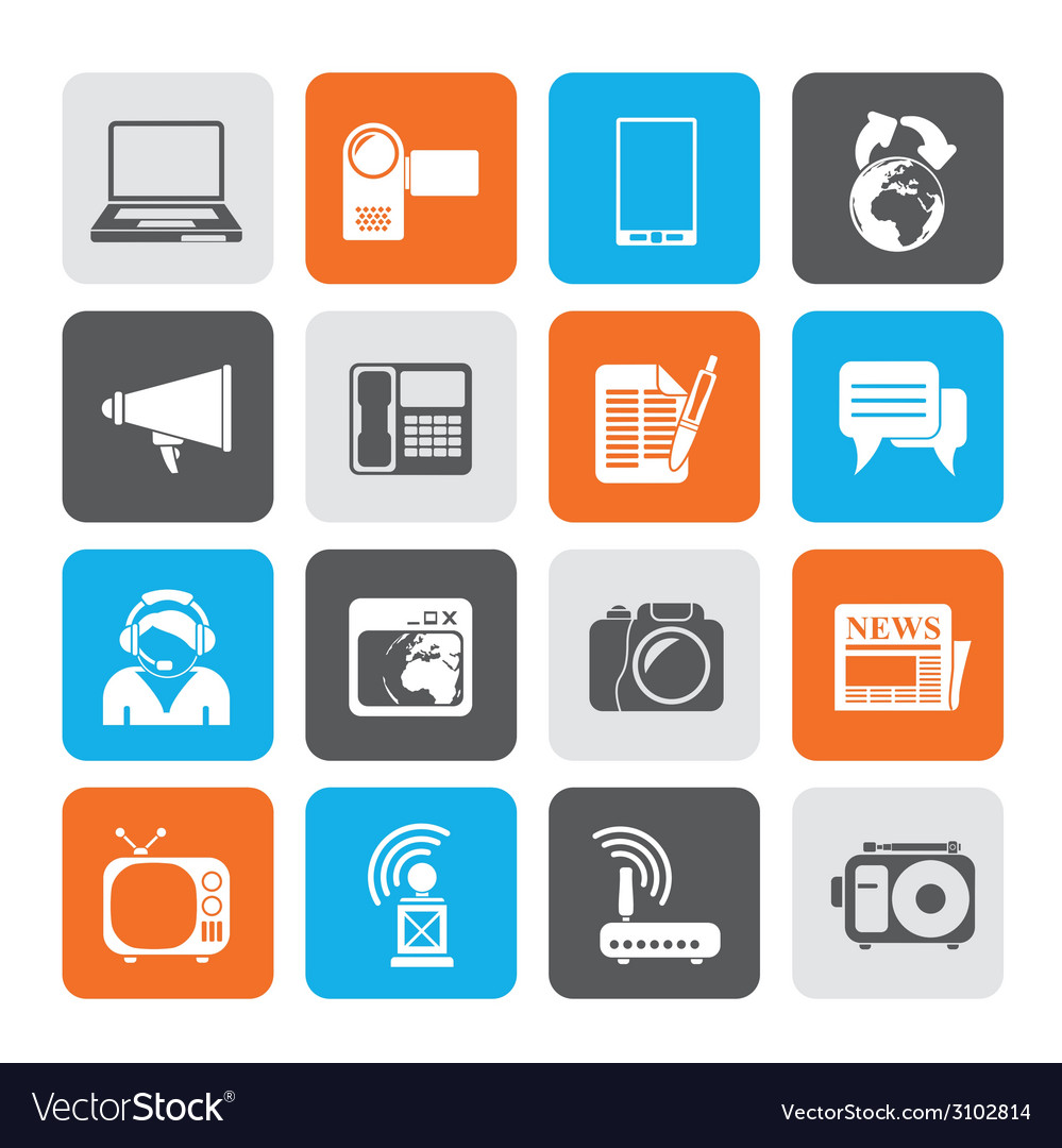 Silhouette communication and technology icons vector | Price: 1 Credit (USD $1)