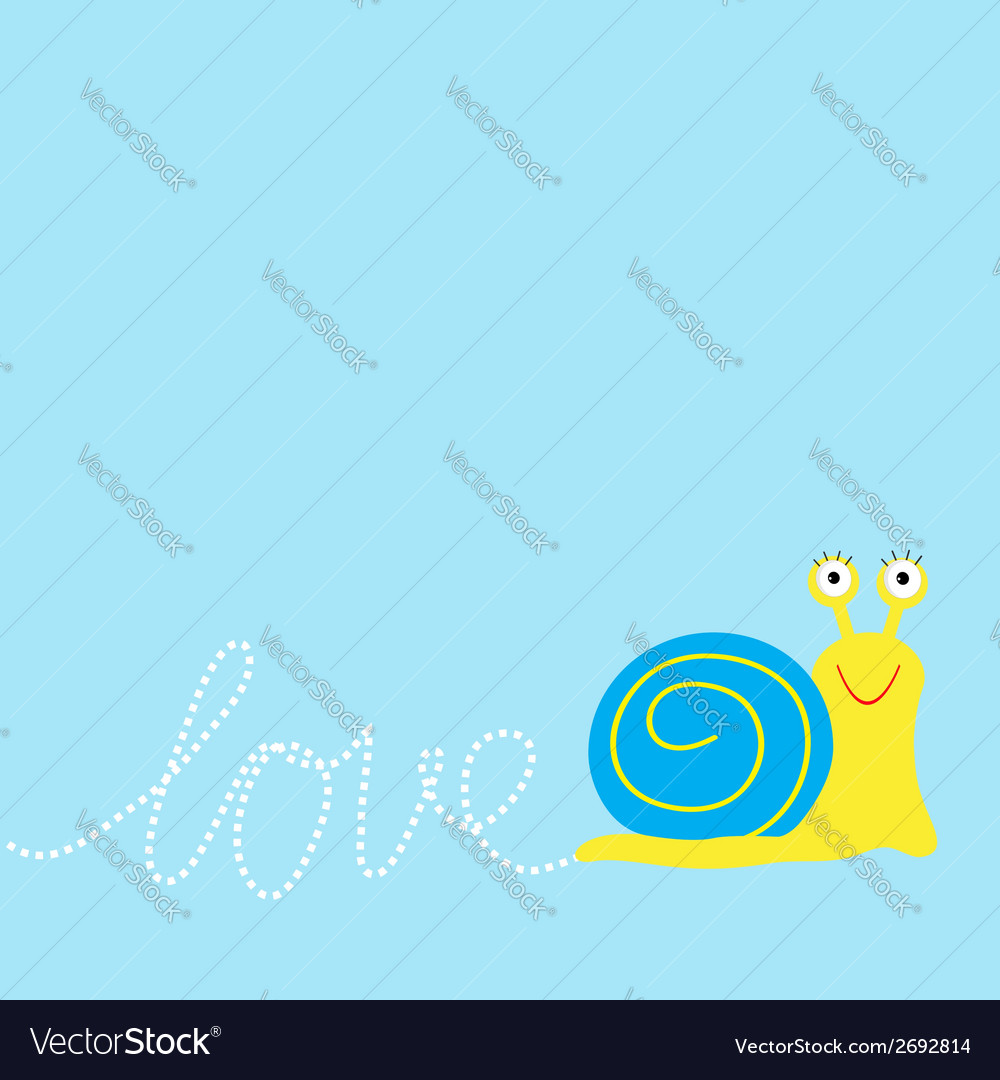 Snail insect dash word love card flat design vector | Price: 1 Credit (USD $1)