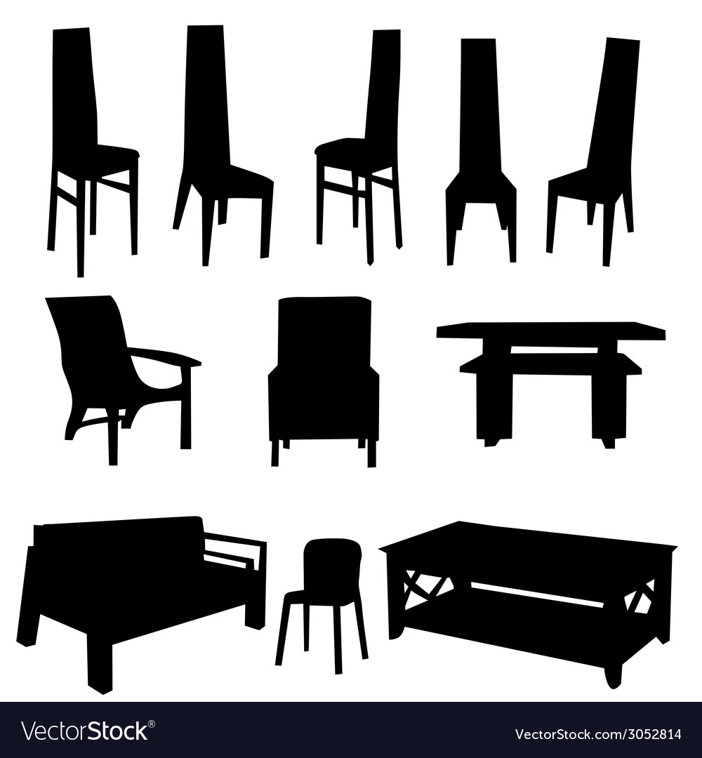 Table and chair black vector | Price: 1 Credit (USD $1)