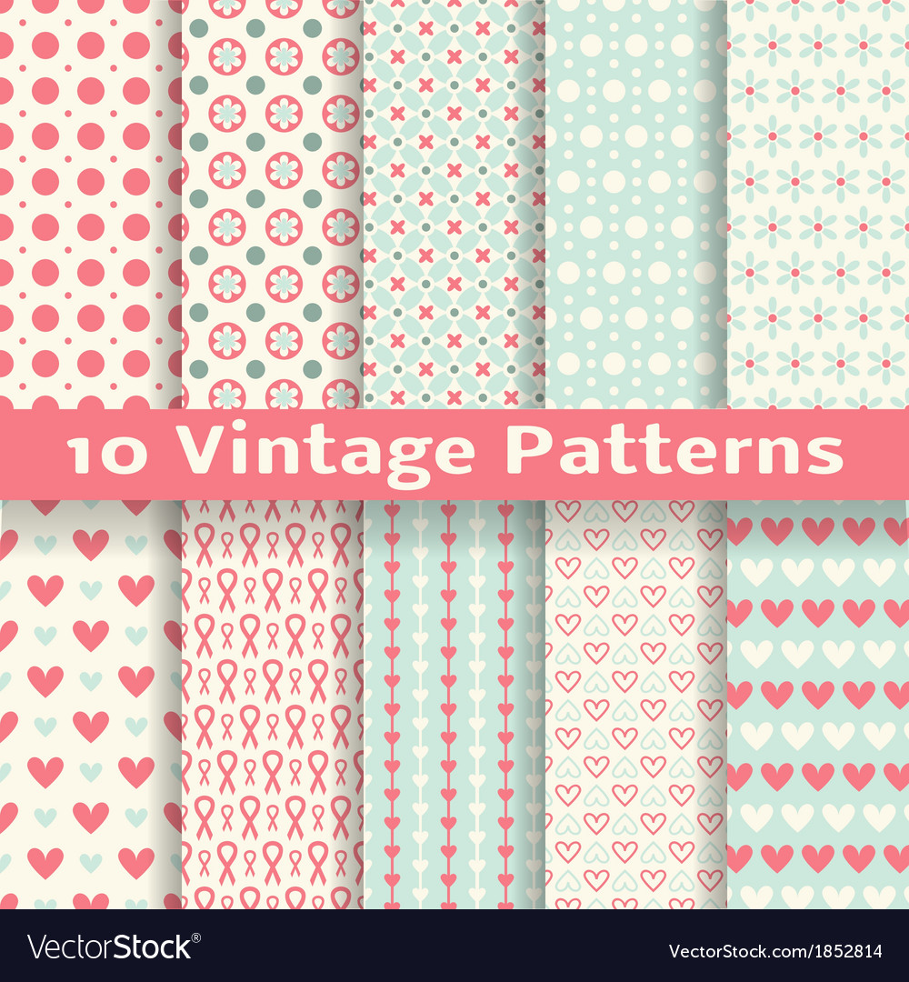 Vintage fashionable seamless patterns tiling vector | Price: 1 Credit (USD $1)