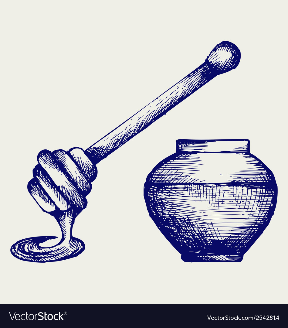 Wooden honey dipper and honey pot vector | Price: 1 Credit (USD $1)