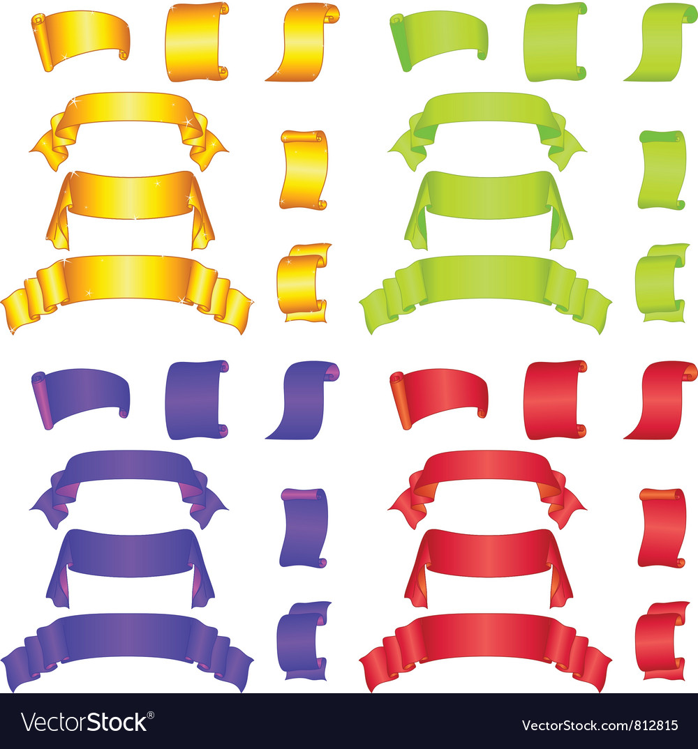 Banners ribbons and scrolls big set vector | Price: 1 Credit (USD $1)