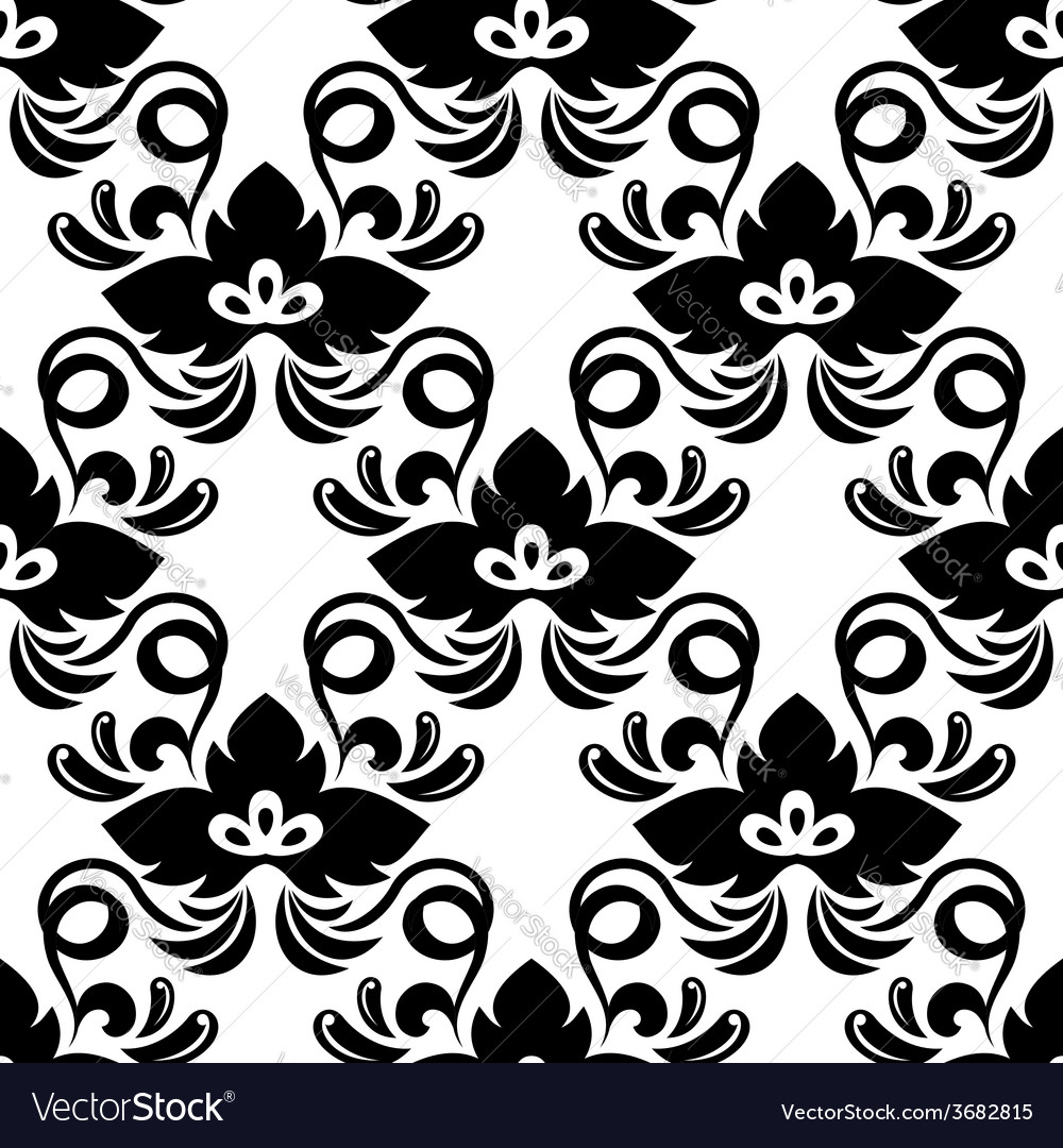 Black abstract shamrock leaves seamless pattern vector | Price: 1 Credit (USD $1)