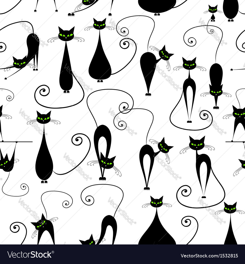 Black cats seamless pattern for your design vector | Price: 1 Credit (USD $1)