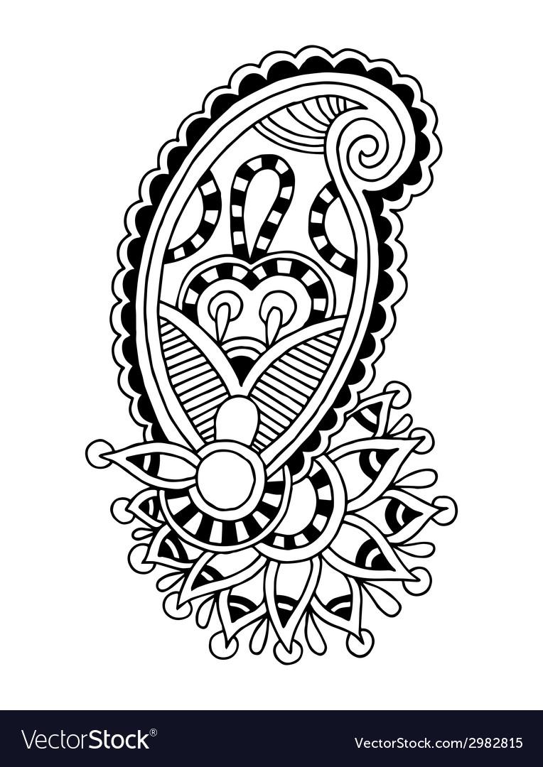 Black line art ornate flower design ukrainian vector | Price: 1 Credit (USD $1)