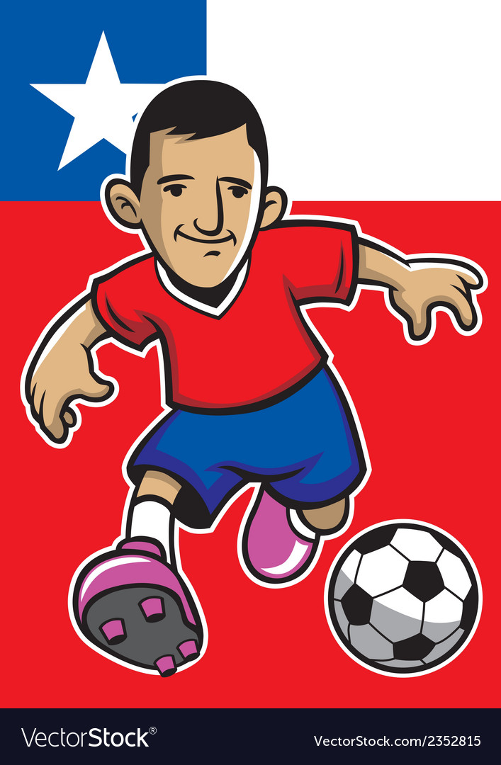 Chile soccer player with flag background vector | Price: 1 Credit (USD $1)