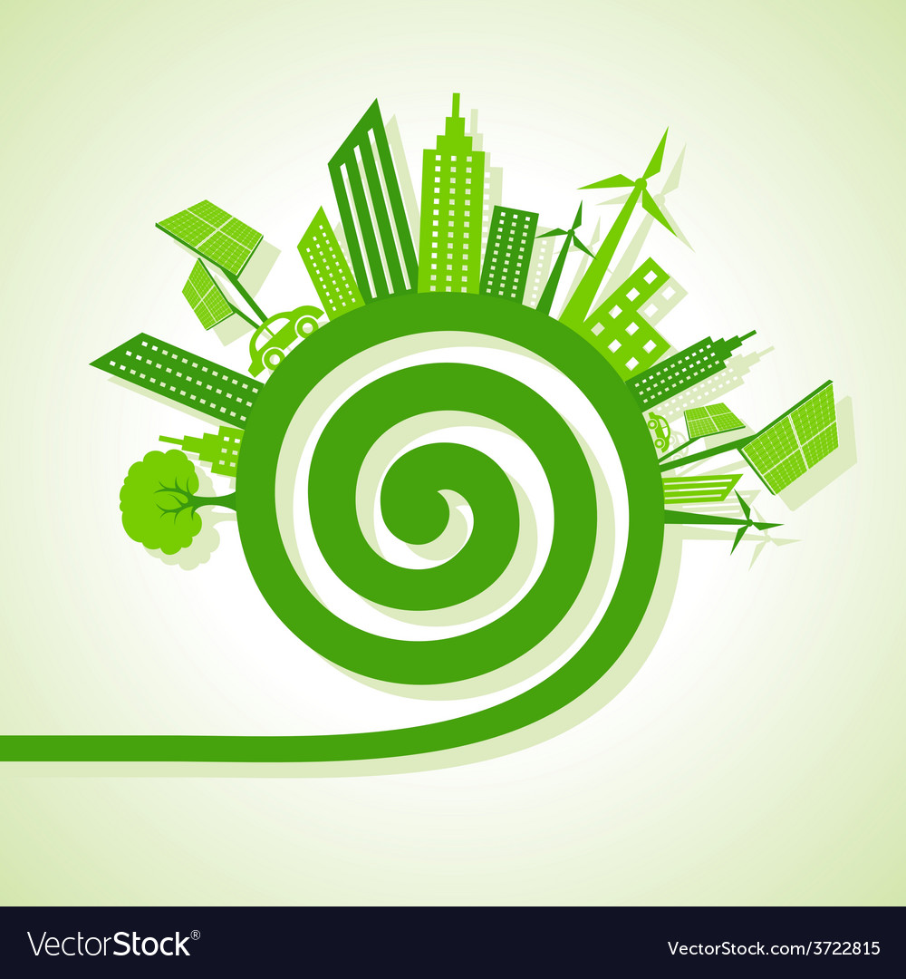 Ecology concept - eco cityscape with spiral design vector | Price: 1 Credit (USD $1)