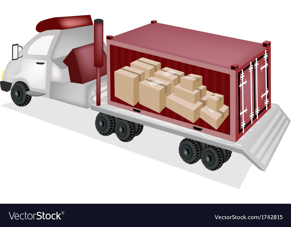 Flatbed trailer loading paper boxes in container vector | Price: 1 Credit (USD $1)