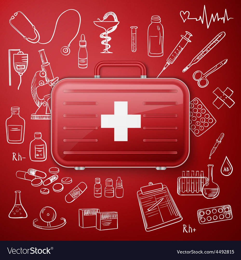 Medical chest and hand draw medicine icon vector | Price: 1 Credit (USD $1)