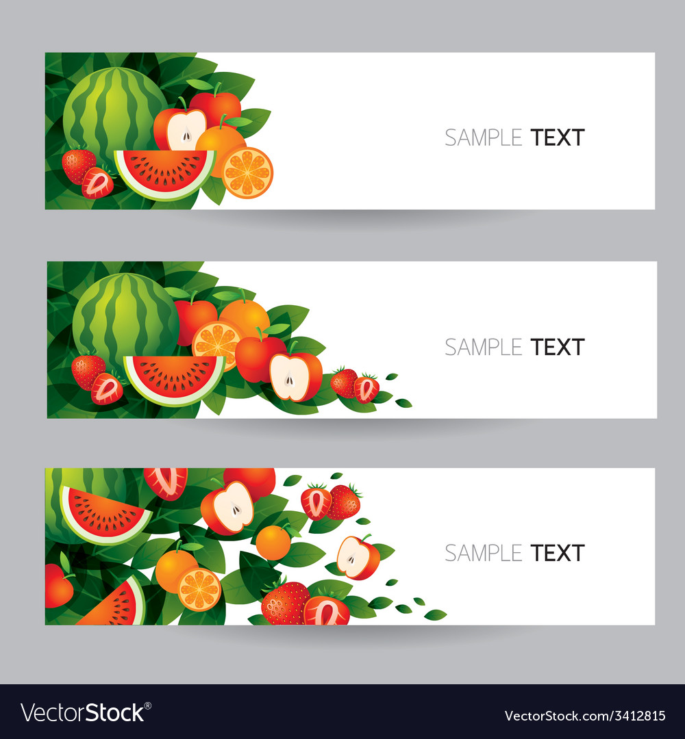 Mixed fruits banner vector | Price: 1 Credit (USD $1)