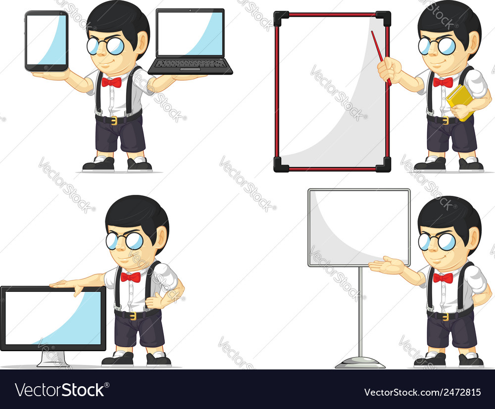Nerd boy customizable mascot 20 vector | Price: 1 Credit (USD $1)