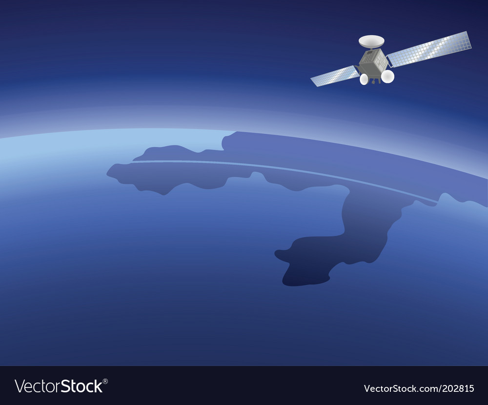 Satellite over planet vector | Price: 1 Credit (USD $1)