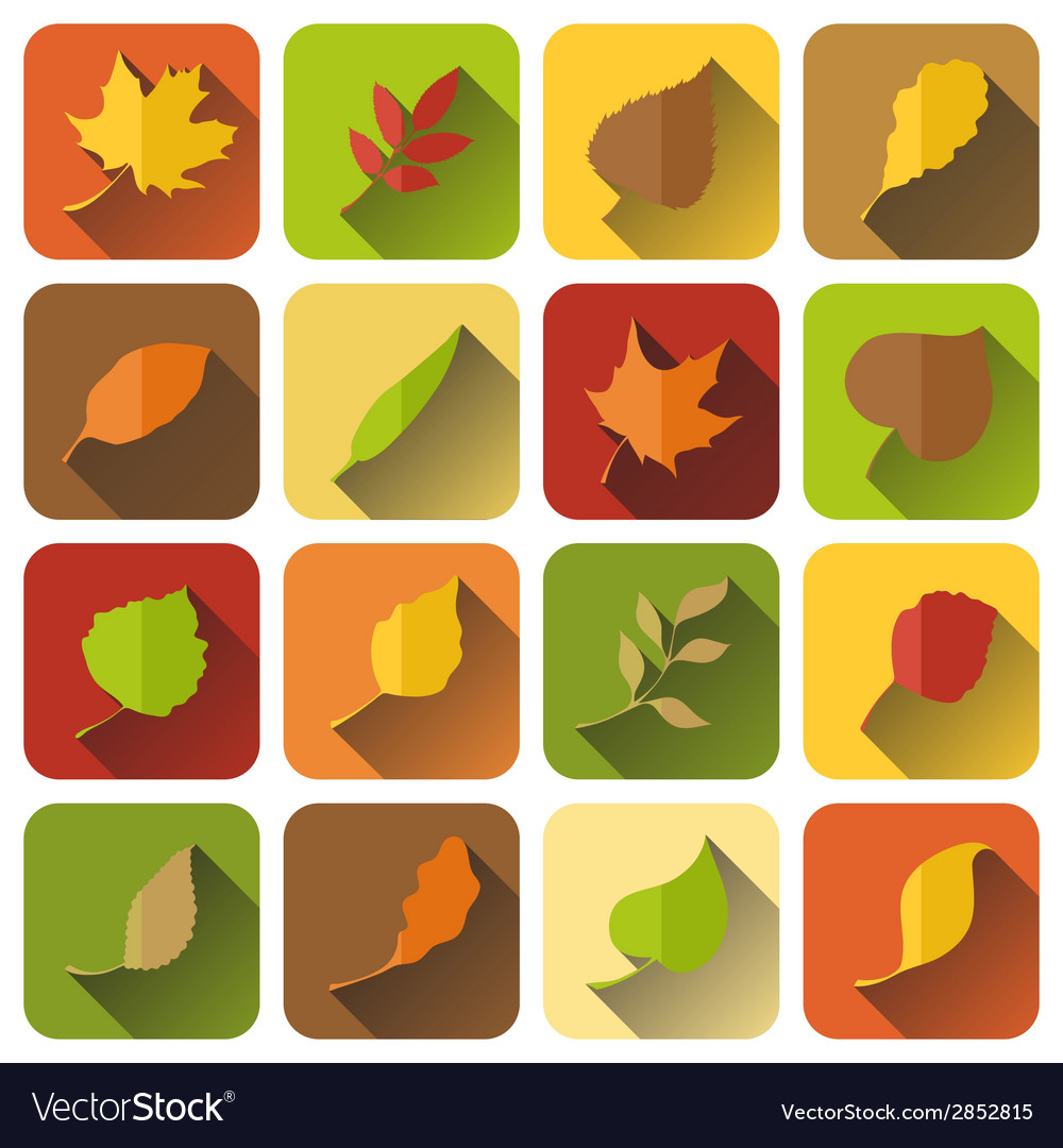 Set of autumn icons with long shadow vector | Price: 1 Credit (USD $1)