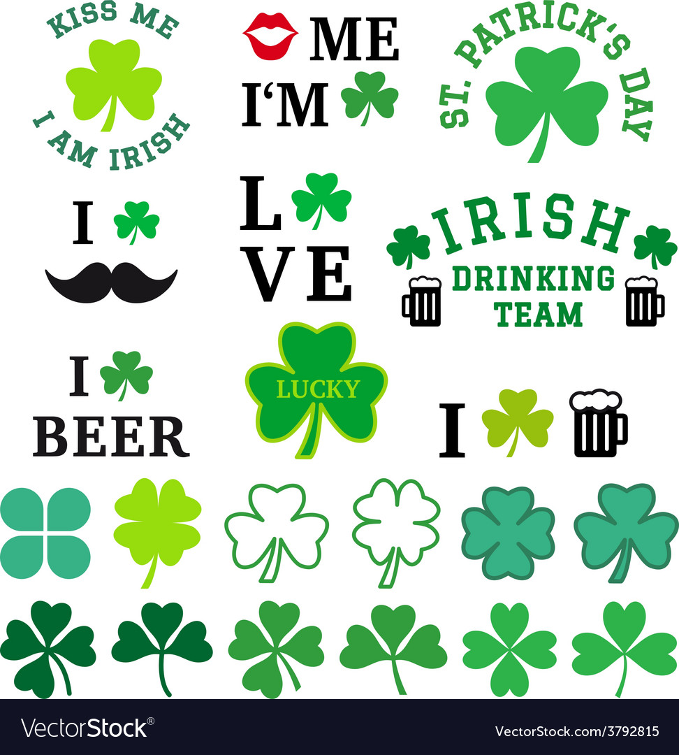 St patricks day clover set vector | Price: 1 Credit (USD $1)