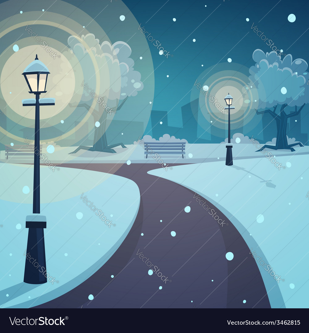 Winter night in the park vector | Price: 3 Credit (USD $3)