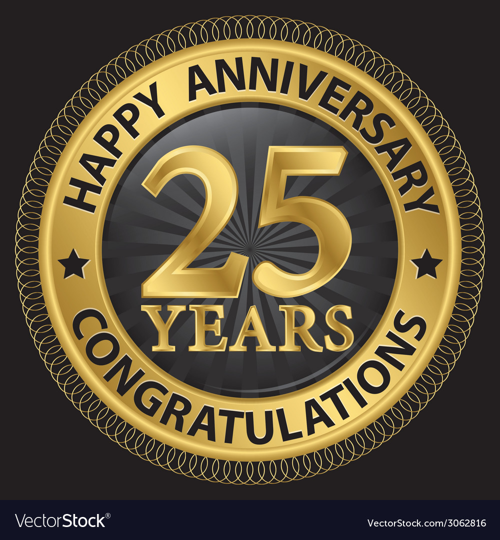 25 years happy anniversary congratulations gold vector | Price: 1 Credit (USD $1)